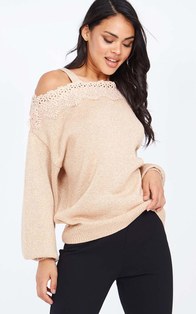 ANNABEL - Bishop Sleeve Lace Detail Pink Jumper by Blue Vanilla