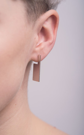 Sterling silver geometric rectangle block studs by Studio Adorn