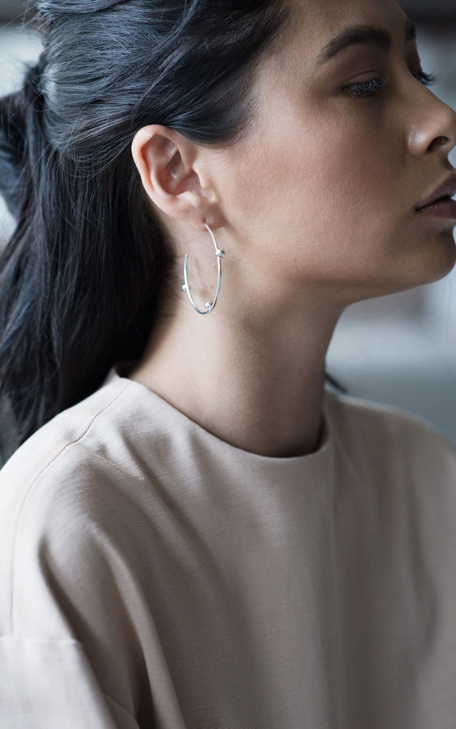 Sterling silver bobble hoops by Studio Adorn