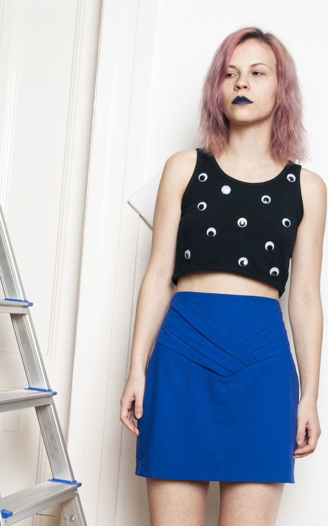 Reworked vintage eye crop top by Pop Sick Vintage