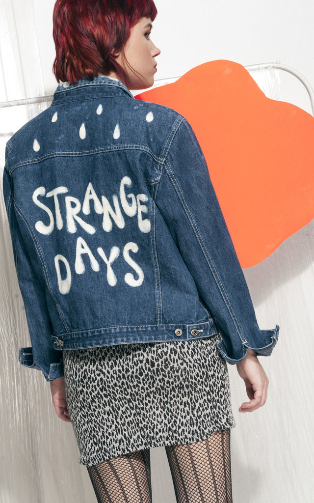 Hand-painted denim jacket - Reworked Strange Days jacket by Pop Sick Vintage