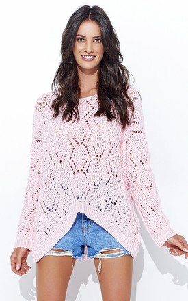 Powder Pink Openwork Long Back Jumper by Makadamia Product photo