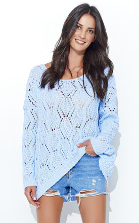 Light Blue Openwork Long Back Jumper by Makadamia
