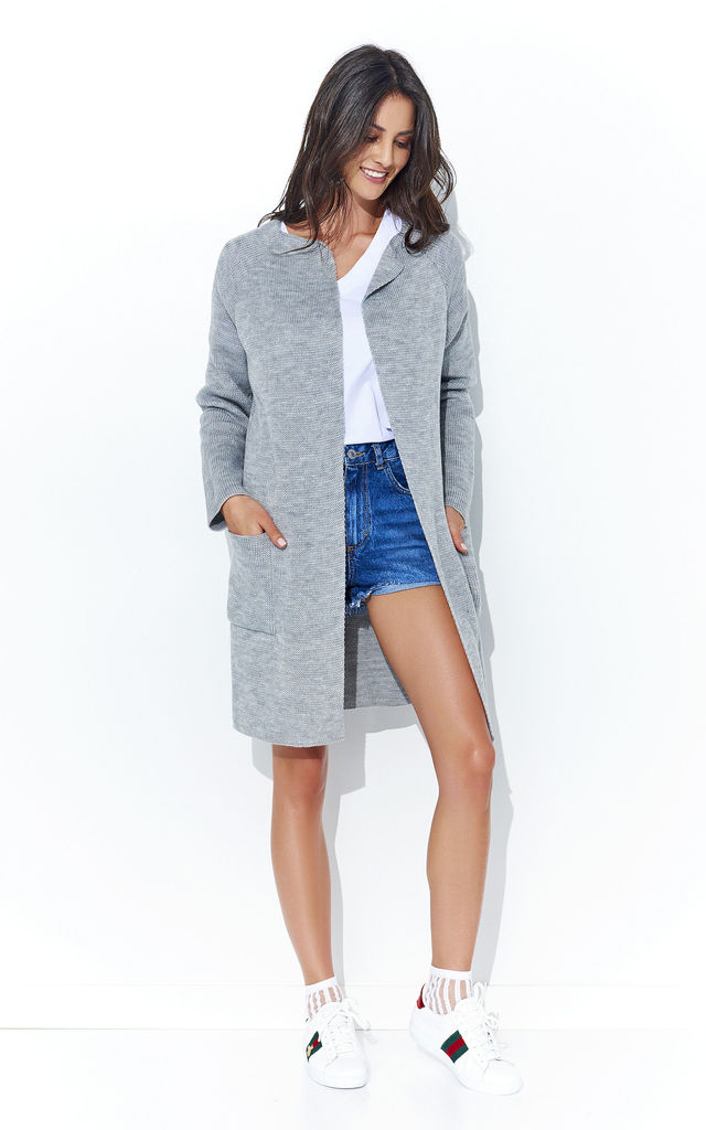 Grey Long Open Cardigan With Pockets by Makadamia