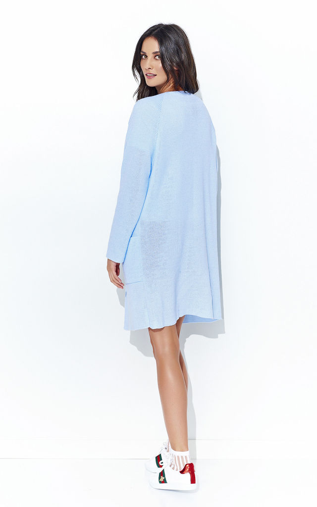 Light Blue Long Open Cardigan With Pockets by Makadamia