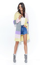 Yellow Pink Multicolour Hooded Open Cardigan by Makadamia