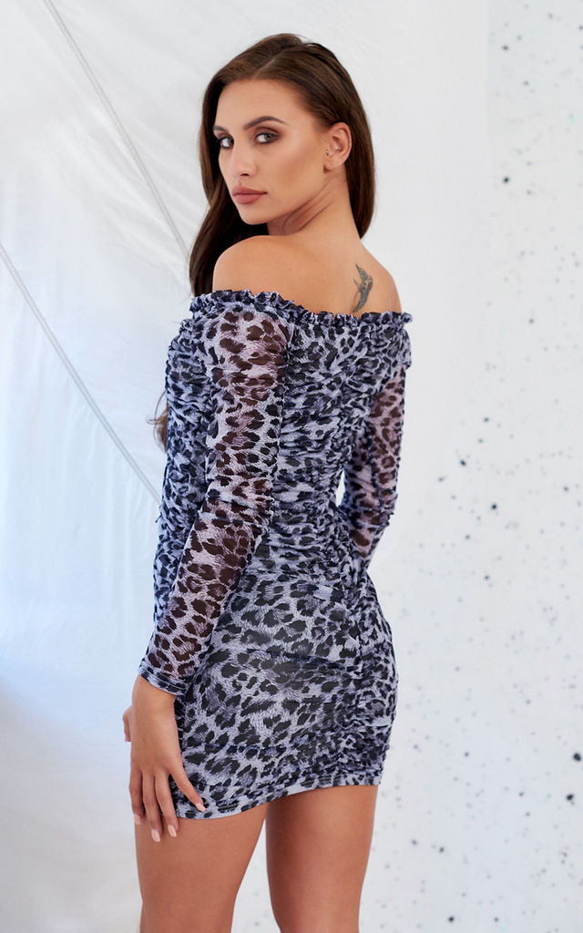 Grey Leopard Print Bardot Mini Dress by STEREOBLONDES