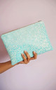 Glitter Clutch Bag in Powder Blue for Spring Wedding by Suki Sabur Designs