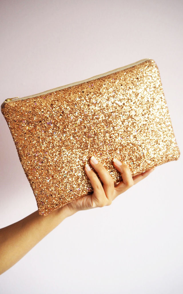 Glitter Clutch Bag in Gold Rainbow by Suki Sabur Designs