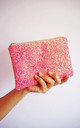 Glitter Makeup Bag in Pink & Rose Gold by Suki Sabur Designs