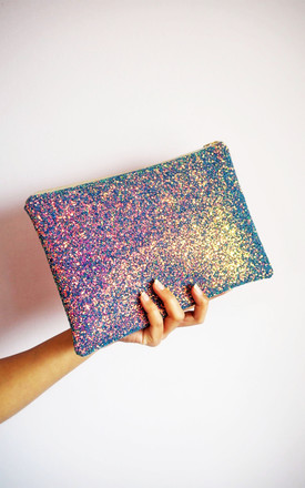 Glitter Clutch Bag In Iridescent Purple Rainbow by Suki Sabur Designs Product photo