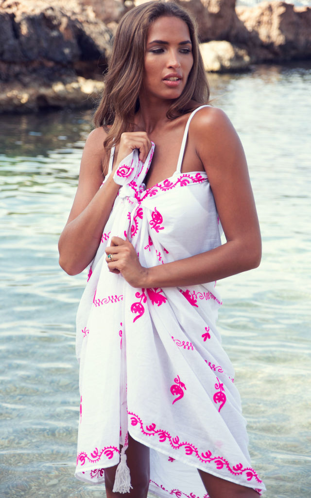 Mykonos Embroidered Sarong with Tassels in White / Hot Pink by Kitten Beachwear