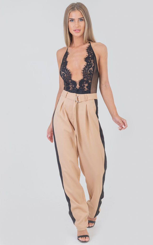 D-Belted Cuff Stripe Side Trousers Nude by Saint Genies