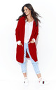 Red Long Hooded Open Cardigan by Makadamia