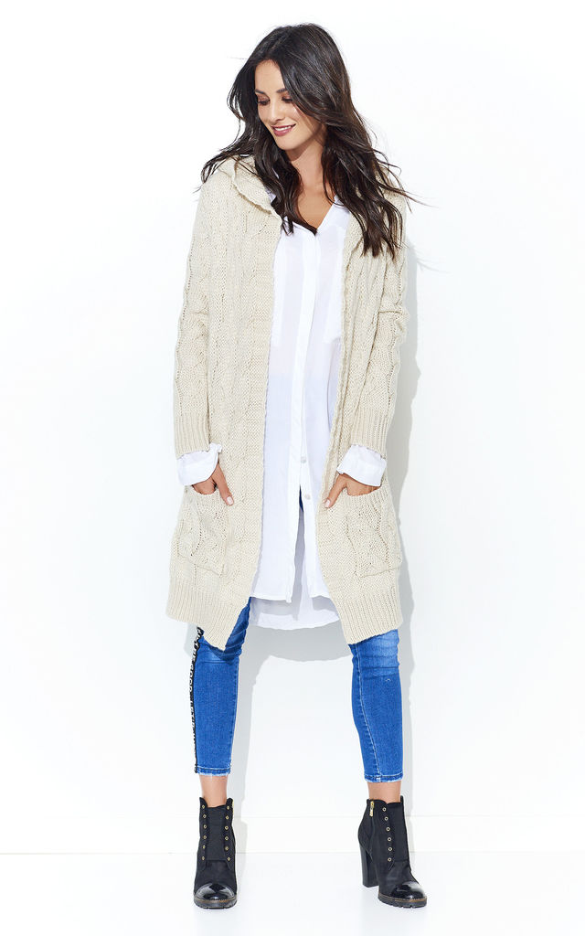 Beige Braid Weave Hooded Open Cardigan by Makadamia