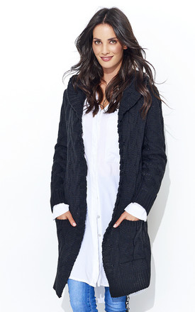 Hooded Chunky Knit Cardigan in Black by Makadamia