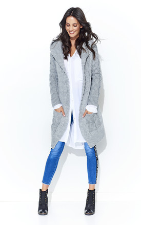 Hooded Chunky Knit Cardigan In Light Grey by Makadamia Product photo