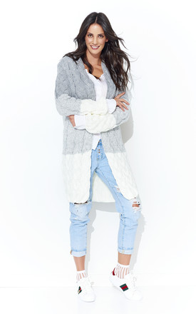 Long Cardigan in grey/white by Makadamia
