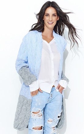 Multicolour Light Blue Grey Long Cardigan by Makadamia
