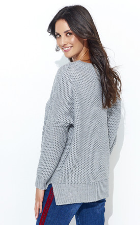 Grey Oversized Loose Knit Jumper by Makadamia