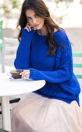 Cobalt Blue Oversized Knit Jumper by Makadamia