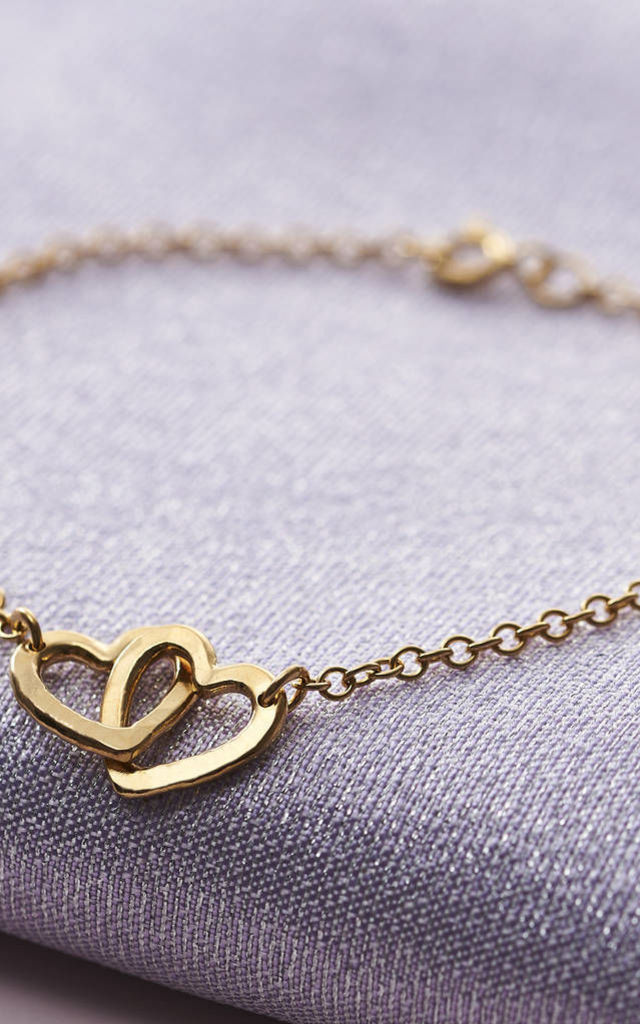 Double Heart Names Bracelet in Yellow Gold by Posh Totty Designs
