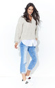 Beige V Neck Jumper With White Insert by Makadamia