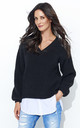 Black V Neck Jumper With White Insert by Makadamia