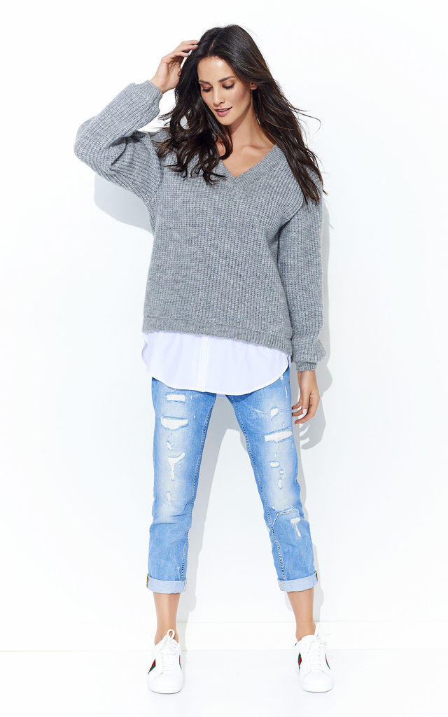 Grey V Neck Jumper With White Insert by Makadamia