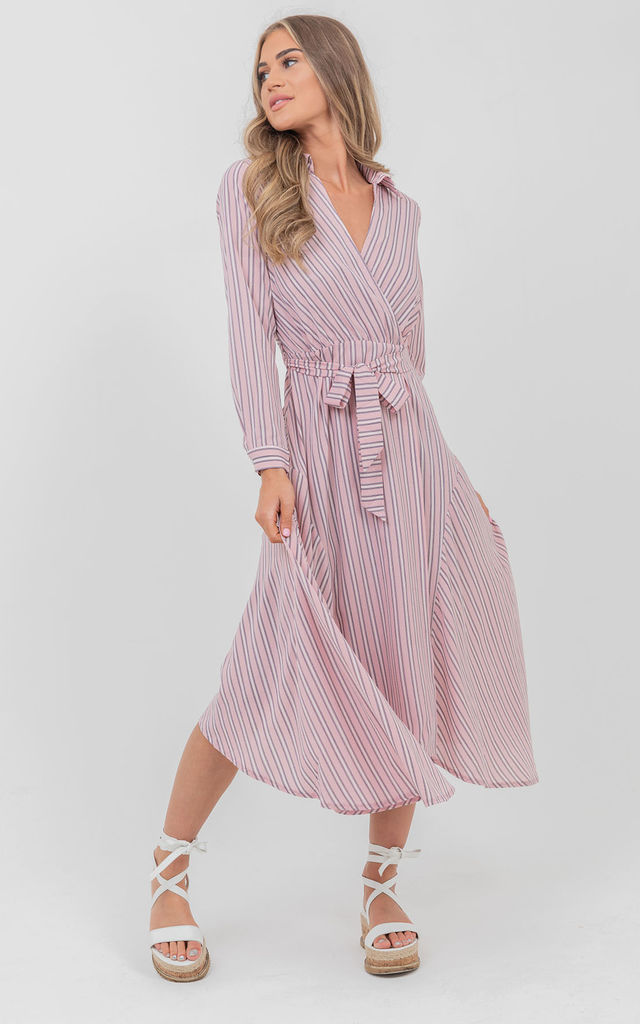Stripe Shirt Style Wrap Front Maxi Dress In Pink by Saint Genies