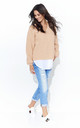 Salmon V Neck Jumper With White Insert by Makadamia