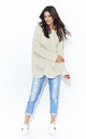 Long Sleeve Jumper with Loose Knit in Beige by Makadamia