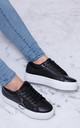 TRUE LOVE Lace Up Flat Trainers Shoes - Black Leather Style by SpyLoveBuy