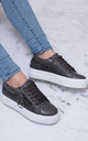TRUE LOVE Lace Up Flat Trainers Shoes - Grey Leather Style by SpyLoveBuy