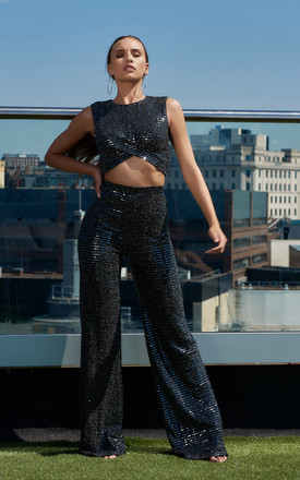 Black Mirror Sequin Wide Leg Trousers by Club L London