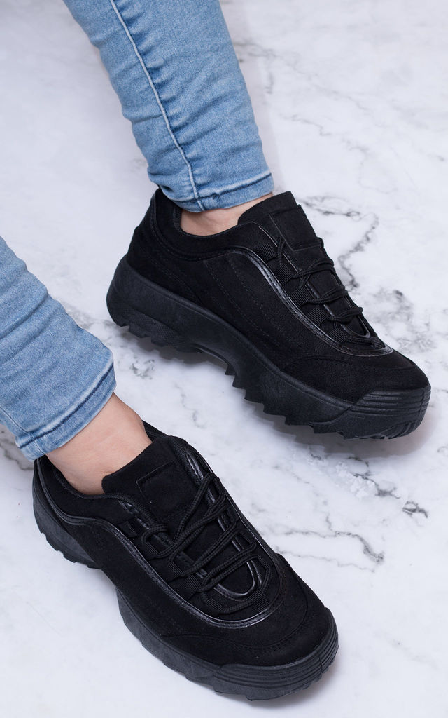 FILLEE Chunky Lace Up Flat Trainers Shoes - Black Suede Style by SpyLoveBuy
