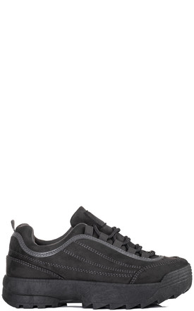 FILLEE Chunky Lace Up Flat Trainers Shoes - Grey Suede Style by SpyLoveBuy