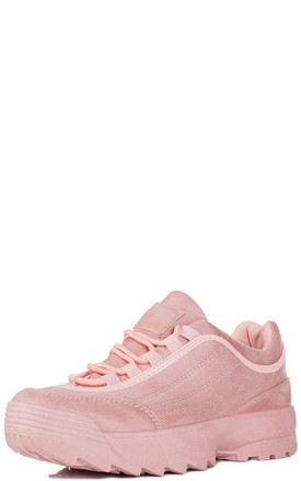FILLEE Chunky Lace Up Flat Trainers Shoes - Pink Suede Style by SpyLoveBuy