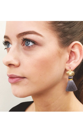 THE 'QUEEN BEE' TASSEL EARRINGS - GREY by BLESSED LONDON