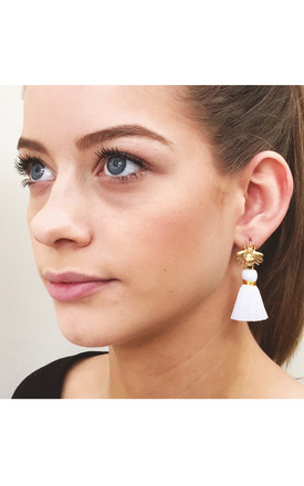THE 'QUEEN BEE' TASSEL EARRINGS - WHITE by BLESSED LONDON