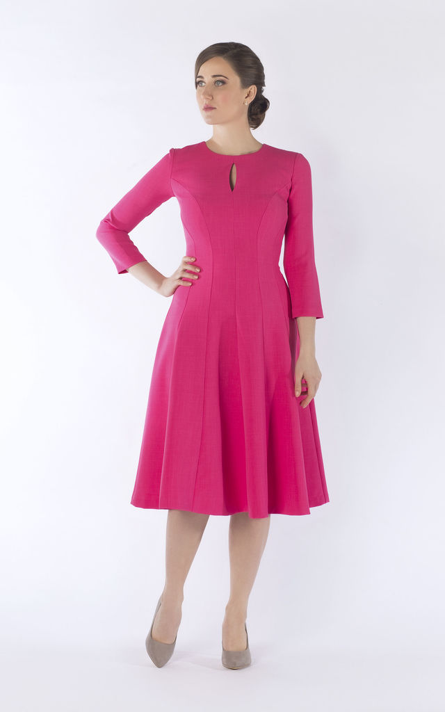 Christine midi dress in pink by JEVA FASHION