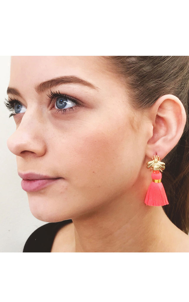 THE 'QUEEN BEE' TASSEL EARRINGS - NEON CORAL by BLESSED LONDON