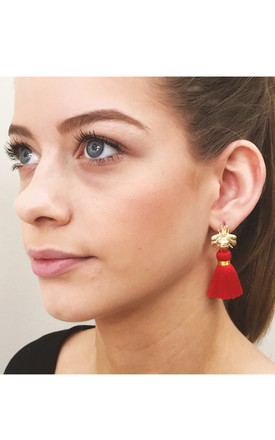 THE 'QUEEN BEE' TASSEL EARRINGS - RED by BLESSED LONDON