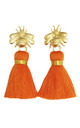 THE 'QUEEN BEE' TASSEL EARRINGS - ORANGE by BLESSED LONDON