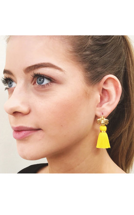 THE 'QUEEN BEE' TASSEL EARRINGS - YELLOW by BLESSED LONDON