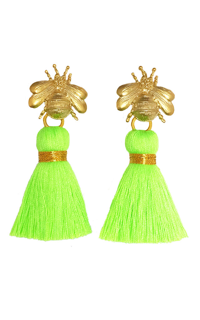 THE 'QUEEN BEE' TASSEL EARRINGS - NEON GREEN by BLESSED LONDON