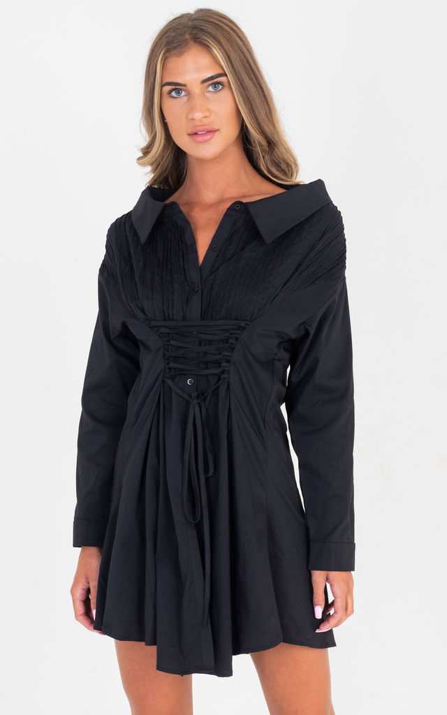 5e1ebdb799 Tie Up Long Sleeve Over size Shirt Swing Dress In Black by Saint Genies