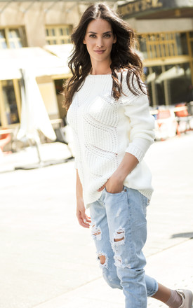 Long Sleeve Jumper with Loose Knit in White by Makadamia