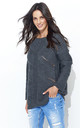 Long Sleeve Jumper with Loose Knit in Dark Grey by Makadamia