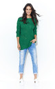 Long Sleeve Jumper with Loose Knit in Green by Makadamia